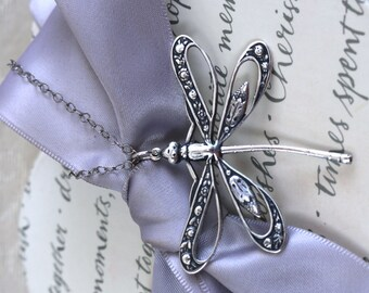 Dragonfly Pendant Necklace your choice of Openwork, Silver plated brass, Verdigris patina or Oxidized Brass