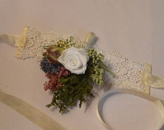 Wedding corsage, Wrist corsage, Rose corsage, Dried flower corsage - Custom Made to Order