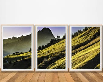 Landscape green hills ireland irish print countryside set of 3 three prints canvas piece wall art office living printable extra large poster