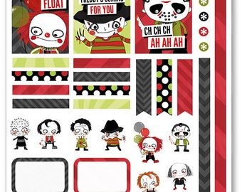 Horrors Decorating Kit / Weekly Spread Planner Stickers for Erin Condren Planner, Filofax, Plum Paper