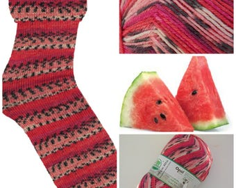 Sockyarn Claire Schafpate Viridian in watermelon colours of pink black 4ply sock yarn 100g 425m dyed in colours like a watermelon Opal #7954
