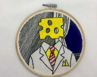 Cheese Head by Lichtenstein recreation hand made embroidery 6 inch hoop