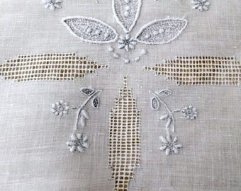 "Linen Tea Cloth (37.5"" x 39""),Dainty Embroidered Floral Garland,Drawn Thread, Drawn Thread Edge,Over Cloth on Skirted Table,Wedding,TeaParty"