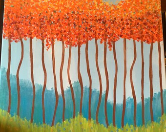 Trees painting-outdoor scene-acrylic painting-canvas art-hand painted art-housewarming gift-home decor-wall art-orange leaves-