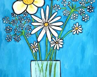 White Flowers in vase Blue  Shelagh Duffett print