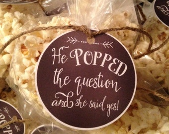 He Popped the Question Gift Tag, Engagement Favor Tag, Popcorn Favor Tag, Engagement Stickers, Wedding Stickers, Lauren Haddox Designs