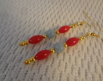 Red Coral and Amazonite Almost Christmas Natural Stone 22k Gold Earrings -  Abigail F095