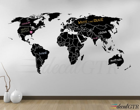 World map countries wall decal borders outlines dry erase world map countries wall decal borders outlines dry erase chalkboard vinyl wall art decor sticker erasable white black board v008 gumiabroncs Choice Image