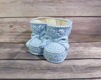 Blue baby shoe planter