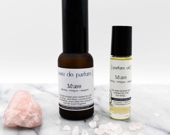 Parfum:  Muse - floral based aromatic blend - organic, vegan - Roll On Oil/Eau de Parfum mist
