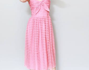 Vintage 1950's Coral Pink Lace Bow Midi Dress