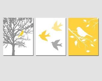 Modern Bird Trio - Set of Three 8x10 Prints - Wall Art for Nursery - CHOOSE YOUR COLORS - Shown in Yellow, Gray, and More
