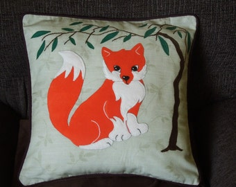 "Fox pillow, cushion cover ""Little Fox under the Tree"" handmade, applique, animal"