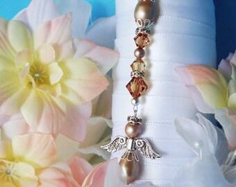 Wedding Bouquet Charm Swarovski Crystal and Pearl Angel Bouquet Charm