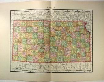 Original 1895 Map of Kansas by Rand McNally