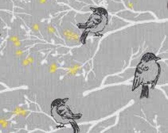 "Black birds on branches on gray, keepsake calico, By the half yard, 44"" wide, 100% cotton, bird fabric,  black birds fabric, novelty fabric"