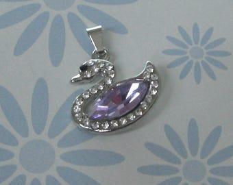 Purple rhinestone Swan pendant