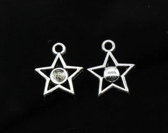 Bulk 50 Pcs Star Charms Antique Silver Tone 2 Sided 14x16mm - YD2828