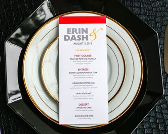"Modern Wedding Menus, Simple Wedding Stationery, Striped Menus, Reception Stationery - ""Bold Striped"" Flat Menu, No Layers - DEPOSIT"