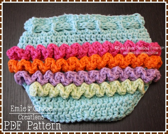 Crochet Ruffled Diaper Cover Pattern 3 Sizes Lily Pdf 709