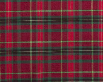 Homespun Red and Green Plaid Cotton Fabric sold by the yard and by the half yard