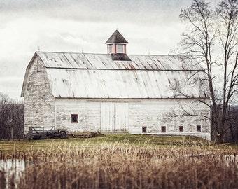 Primitive White Barn Landscape Art, Fixer Upper Decor, Farmhouse Decor, Country Decor, Farm Art, Barn Art, Autumn Barn Print, Farmhouse Art.