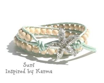 Double Leather Wrap Bracelet- Surf