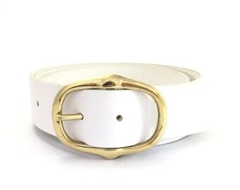 "White Leather Belt With Gold Buckle 1"" 1/2 - Brass Belt - Handmade - Womens Belt - White Belt - Brass Buckle - Leather Belt - White Western"