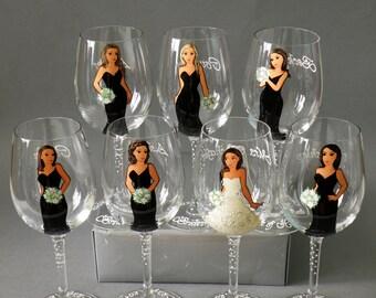 Bridal shower party , Bachelorette party , Bridesmaid gifts , Bridal shower gift, Wedding party gifts , Bridesmaid Portraits wine glass