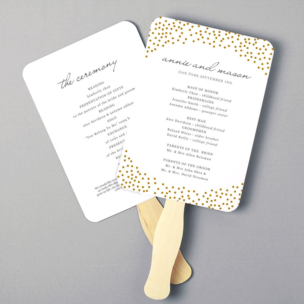 wedding program fans printable fan program fan program template wedding fan 12386