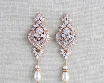 Rose gold earrings, Wedding jewelry, Bridal earrings, Bridesmaid earrings, Chandelier earrings, Crystal earrings, Rose gold Art Deco, EMMA