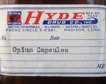 Opium Capsules bottle from the Hyde Drug Co Madison Connecticut