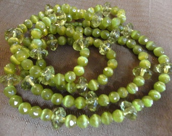 Green Goddess Long beaded Necklace and Earring Set