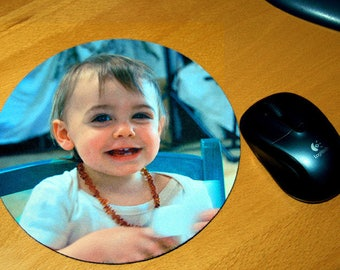 Round mouse pad personalized with photo and text of your choice