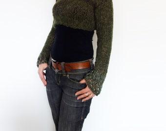 Sweater Knitting PATTERN -  Woodland Cropped Top/ Boho Open Knit Short Sweater/ Modern Rustic HandKnit Shrug/Chunky Laced Knitwear