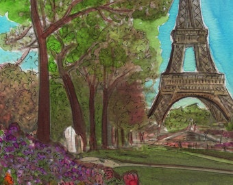 Watercolour Painting Print- Join me in Paris for Spring