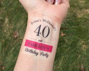 40th BIrthday, 40 and Fabulous, Temporary Tattoo, Birthday Party Favor, Birthday Party, Gag Gift, 40th, 40 Birthday, Over the Hill