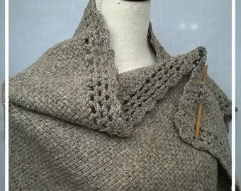 Knitted shawl, rectangular shawl, scarf, wool, woollen, woven fabric, handmade, handmade
