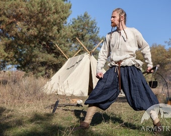 Men's Viking Pants with Wrappings; Linen Pants; Medieval Pants
