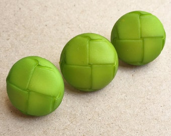 lime green mod new stock shank buttons with woven design tops--matching lot of 3
