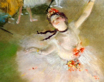 Vintage Painting Print On Canvas Ready to Hang Degas Ballerina Dancer Rich!