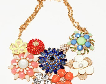 Chunky Colorful Flower Statement Bib Necklace