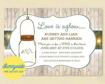 Hanging Mason Jar BBQ Invitation for Bridal Shower, Couples Shower or Engagement Party, Printable or Printed, Rustic, Farm, Fireflies