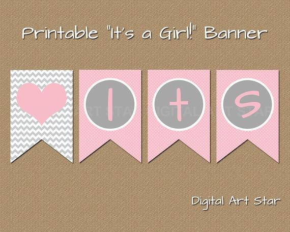 printable baby shower banner diy its a girl banner pink. Black Bedroom Furniture Sets. Home Design Ideas