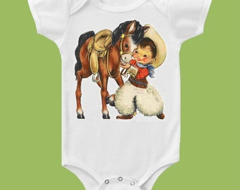 Vintage Cowboy and Pony One Piece Baby or T- Shirt, cowboy with horse, boys clothes, baby boy shower gift, western baby ChiTownBoutique.etsy