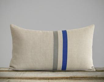 Royal Blue & Stone Gray Striped Linen Lumbar Pillow Cover (12x20) Fall Home Decor by JillianReneDecor - Autumn - FW2015