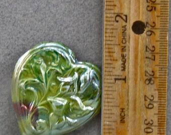 Handmade Raku  Flower Heart Cabochon Green and Copper Glaze Oscarcrow