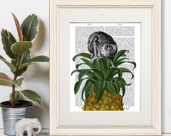 Slow Loris on Pineapple Jungle decor jungle nursery art for kids room Monkey picture Monkey print Monkey illustration Monkey art tropical