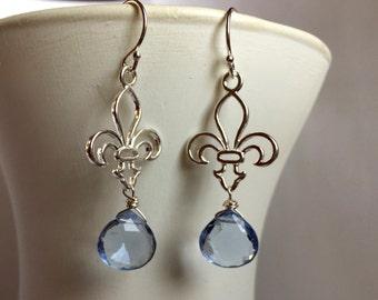 Fleur de Lis Earrings, Sterling Silver, Soft Blue Quartz, Francophile Earrings, French Earrings, Gift Idea