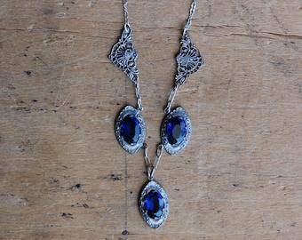 Vintage 1930s cobalt blue Art Deco silvertone necklace